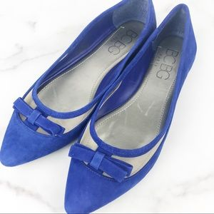 BCBG Paris Blue Flats Mesh Bow 7.5 New in box